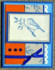 Orange and Blue Bird Card