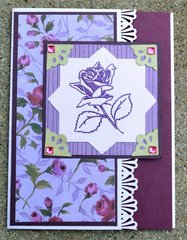 Tri Fold Purple and Green Roses Card