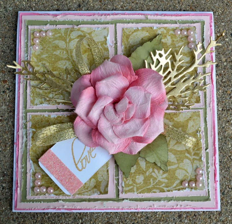 Pink Rose Wedding Card/Box Project - Card Front
