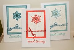 Three Snowflake and Twine Cards