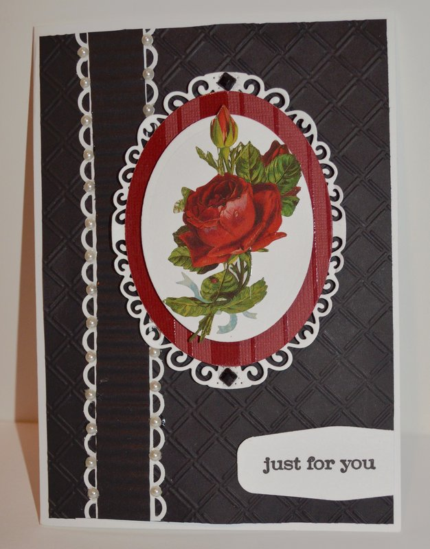 Black and Red Rose Oval Card
