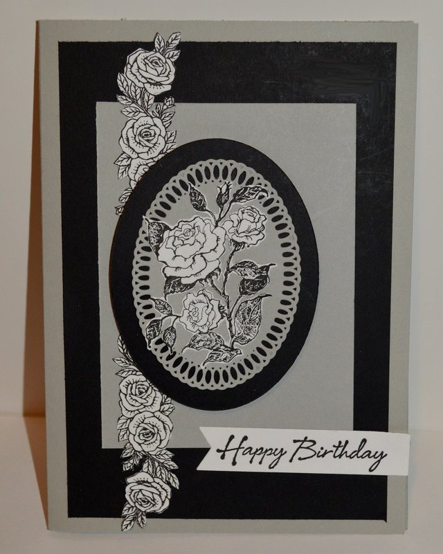 Grey and Black Oval Rose Card