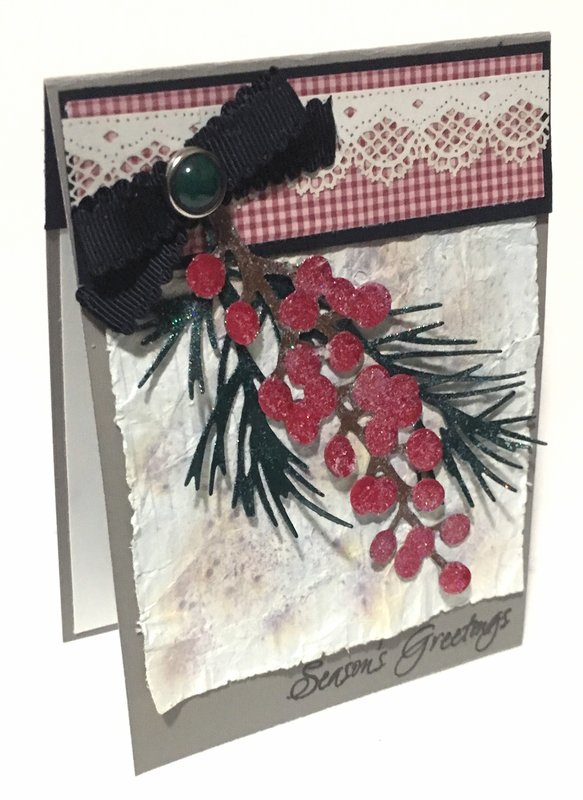 Gingham Pine Bough and Berries Card