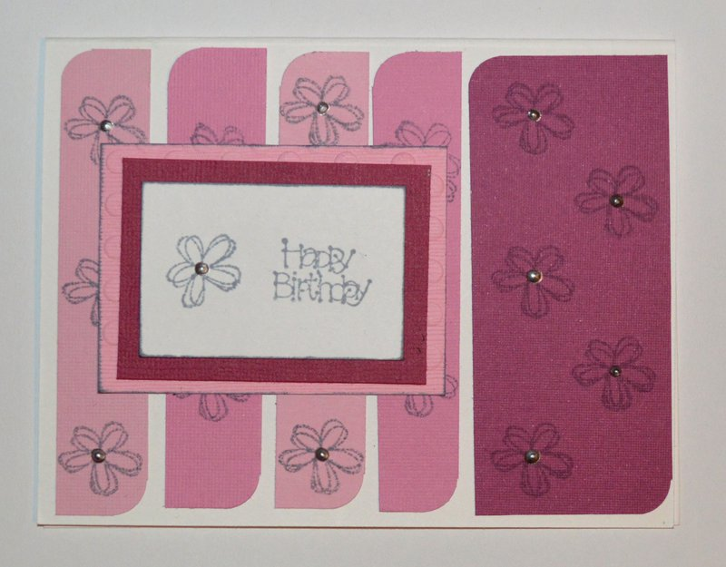 Pink Strips and Flowers Birthday Card