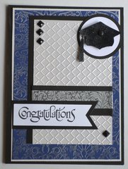 Blue, Silver and Black Graduation Card