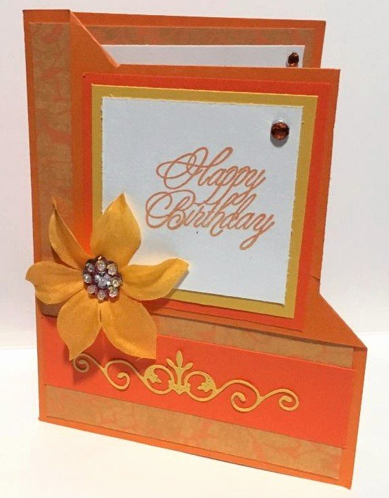 Orange Corner Flip Birthday Card Cover View