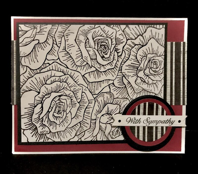 Roses and Stripes Sympathy Card