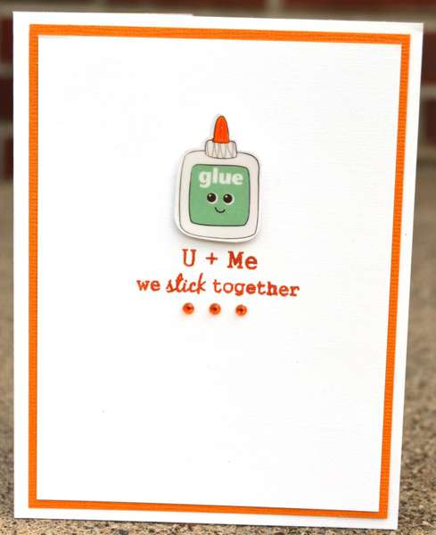 glue valentine card