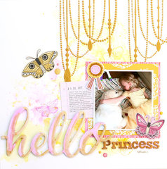 Hello Princess Watercolor Layout