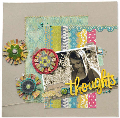 "Crate Paper ""thoughts"" layout by Amy Heller"