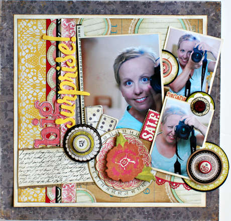 "Crate Paper ""big surprise!"" layout by Christine Middlecamp"