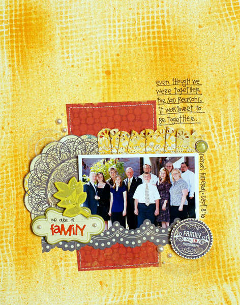 "Crate Paper ""we are a family"" layout by Larissa Albernaz"