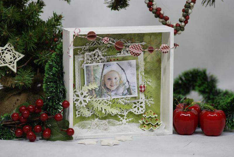 "Winter Lili-layout in the frame ""shadow box"""