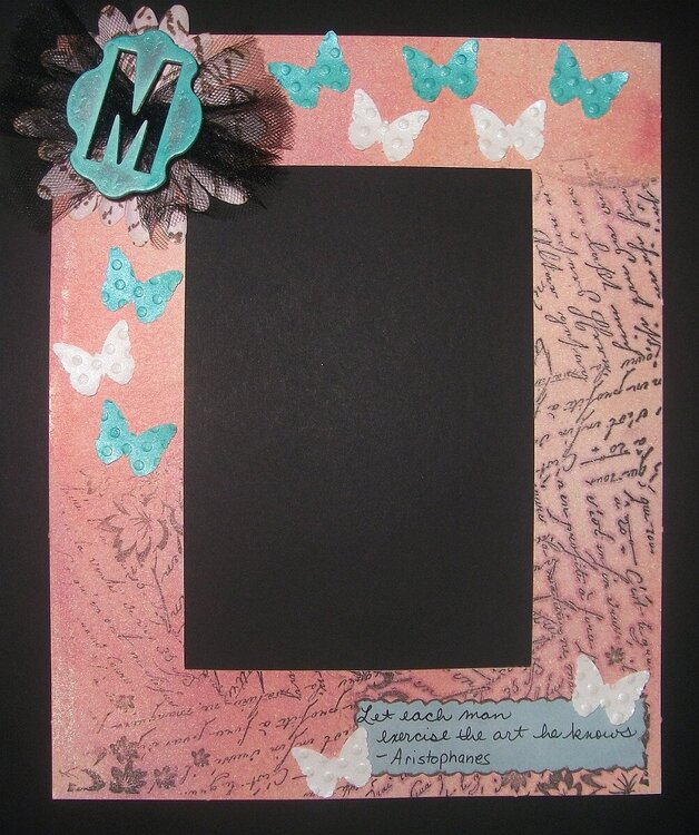 Altered Matte Frame - French Word Butterflies