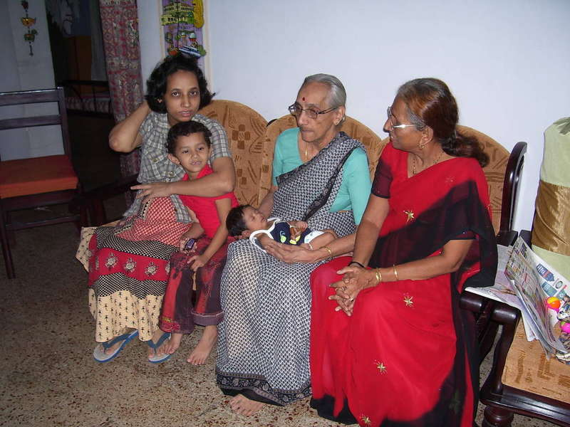 Disha with granny, aunt, mom  and niece