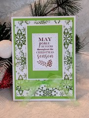 Peace Green Foil Christmas Card
