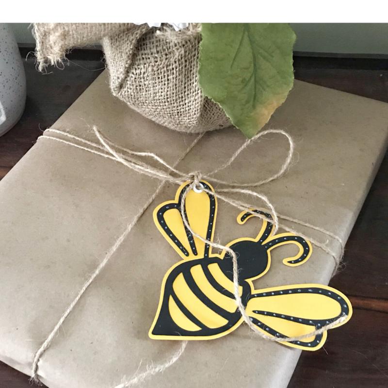 Bee Happy Cut File Tag