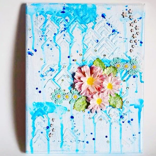 Mixed media canvas art: Winter Flower