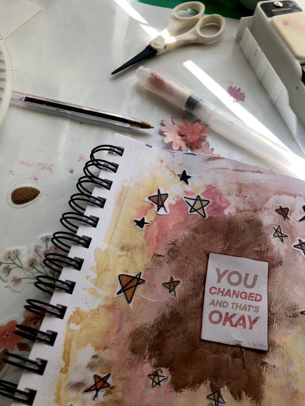 You've Changed Art Journal Page - in progress