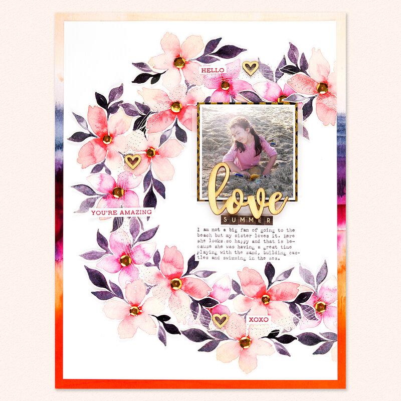 Love Summer Scrapbook Layout | Altenew