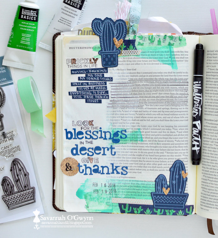Look for Blessings, Give Thanks (bible journaling)