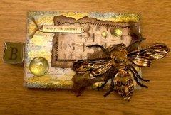 Dragonfly & Bee Burlap Art