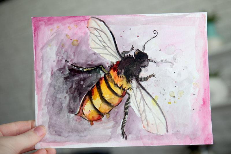 Bumbleebee Watercolor Sketch