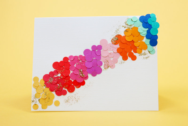 Rainbow Confetti Punch Gold Glimmer Paste Card