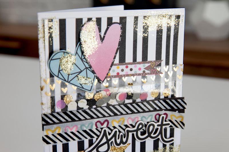 Glitter and Gold Valentine Card