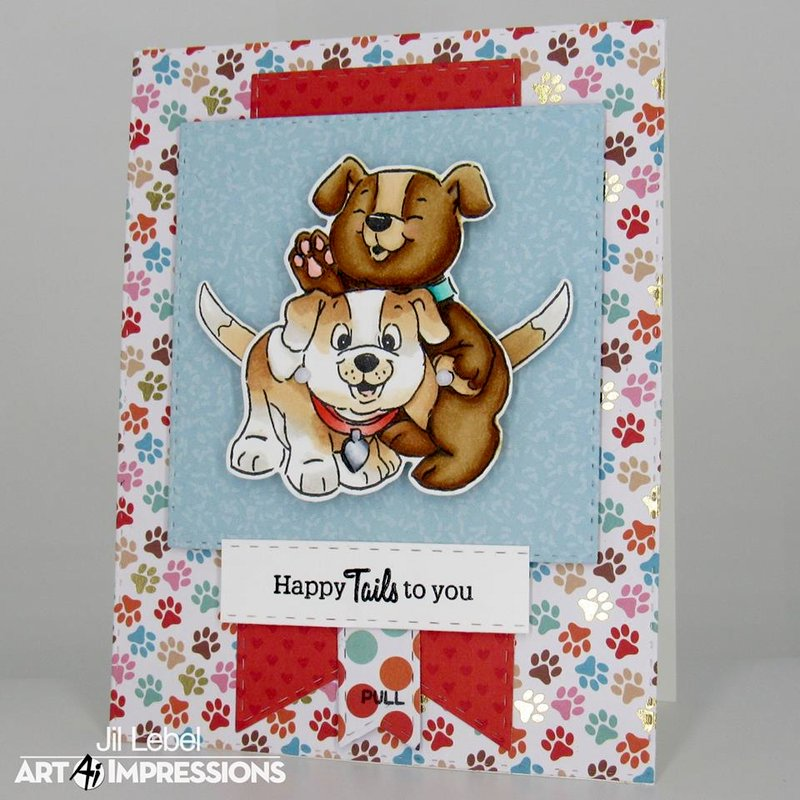 """Puppies Flutter Card """"Happy Tails to You"""""""