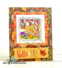 Hello Fall Autumn Window Card
