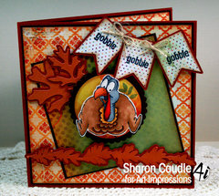 Fall/Thanksgiving card using Gobble Ai Shaker Set from Art Impressions