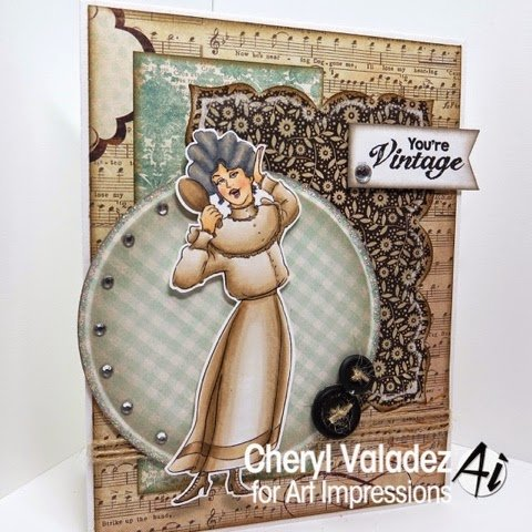 Vintage style card using Art Impressions