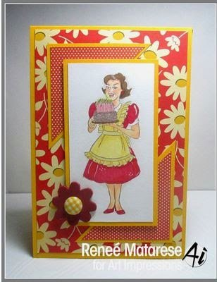 Funny vintage style card using Art Impressions stamps