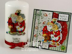 Christmas card and candle using Art Impressions stamps