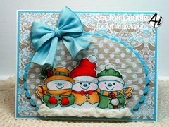 Snowmen card using Art Impressions stamps