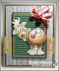 Reindeer Christmas card using Art Impressions stamps