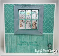 Christmas window card using Art Impressions stamps