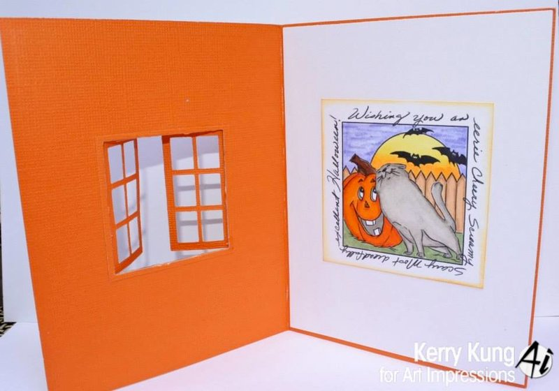 Halloween window card using Art Impressions stamps