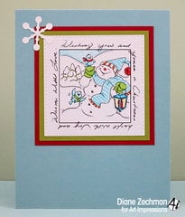 Christmas window snowman card using Art Impressions stamps