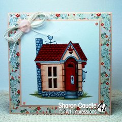 NEW 4746 Cottage House Unmounted Rubber Stamp With Die Set ART IMPRESSIONS