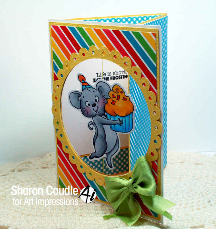 Mouse cupcake card using Art Impressions stamps