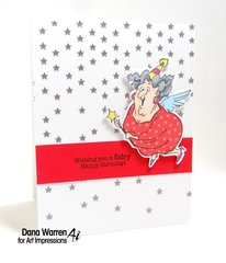 Fairy happy birthday card using Art Impressions stamps