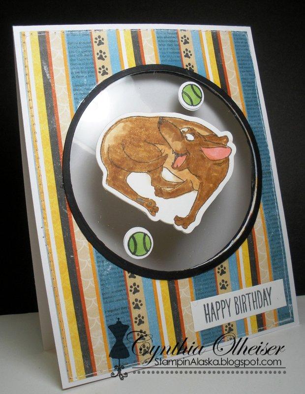 Dog happy birthday card using Art Impressions stamps