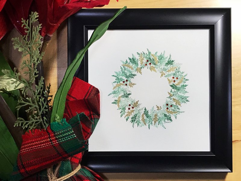 Golden Watercolor Wreath