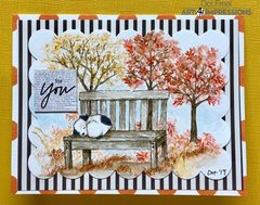 For You - Fall Watercolor Scene with Sleeping Puppy