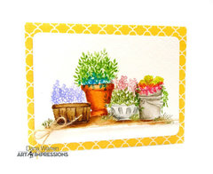 Watercolor Pots and Buckets Card