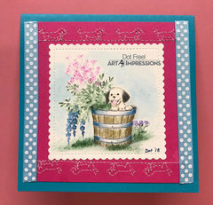Puppy in a Pail Stitched Card