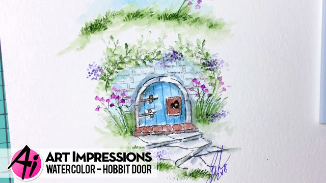 Watercolor Hobbit Door with Art Impressions Stamps