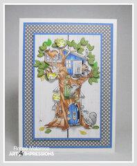 Woodland Tree Cubbie Birthday Card